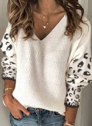 V-Neckline Leopard Sexy Loose Regular Buttons Sweaters (118207720)