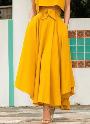 Solid Maxi Casual Pockets Sashes Skirts