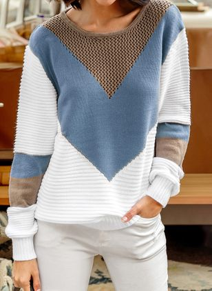 Round Neckline Color Block Casual Loose Shift Sweaters