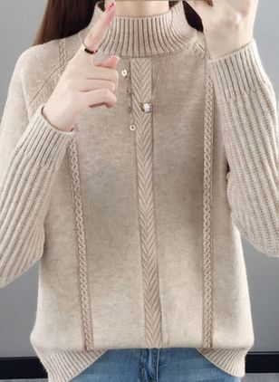 High Neckline Solid Casual Loose Regular Shift Sweaters (120647995)
