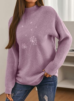 Round Neckline Floral Casual Regular Shift Sweaters (146908741)
