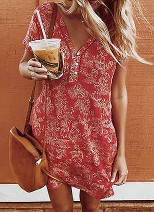 Casual Floral Tunic V-Neckline A-line Dress (101987895)