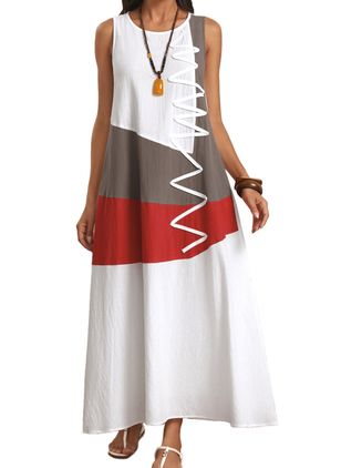Casual Color Block Tunic Round Neckline A-line Dress (106588004)