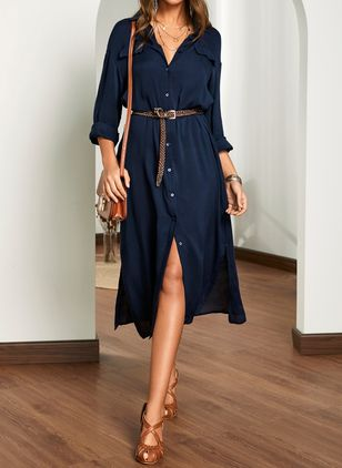 Casual Solid Shirt Collar X-line Dress (1537317)