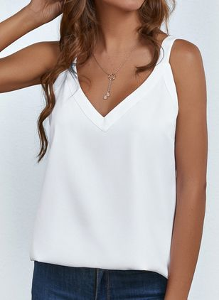 Solid Casual Camisole Neckline Sleeveless Blouses (106587942)