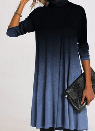 Casual Color Block Round Neckline Long Sleeve Knee-Length Dress