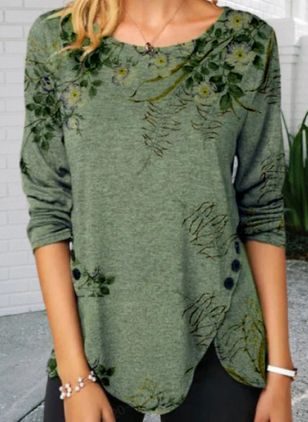 Floral Casual Round Neckline Long Sleeve Blouses (110711576)