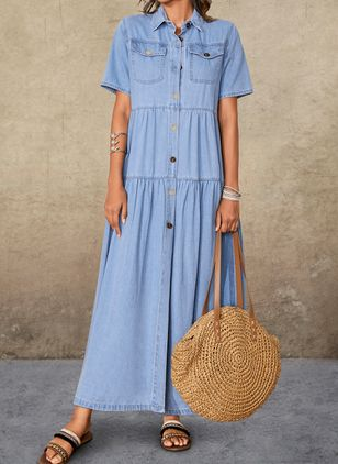Shift Dress Collar Denim Dress (1610001)