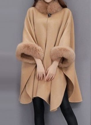 3/4 Sleeves Removable Fur Collar Coats (118207721)