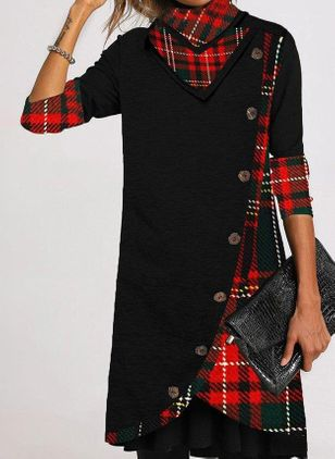 Trendy Plaid Tunic High Neckline A-line Dress (128228154)
