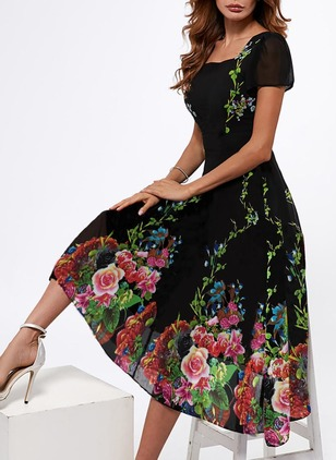 Elegant Floral None Square Neckline A-line Dress (1352572)