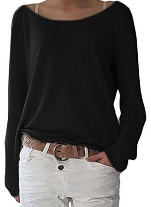 Round Neckline Solid Casual Loose Regular Sweaters