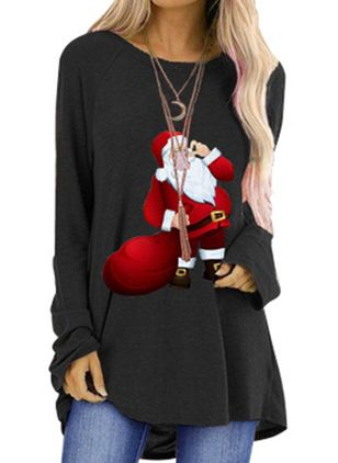 Character Christmas Round Neckline Long Sleeve Blouses (146795271)