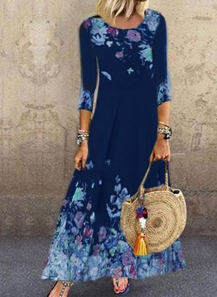 Casual Floral Shirt Round Neckline A-line Dress (105153766)