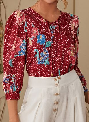 Floral Casual V-Neckline 3/4 Sleeves Blouses (146642919)