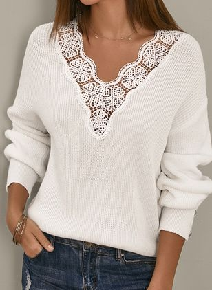 V-Neckline Solid Elegant Loose Regular Lace Hollow Out Buttons Sweaters (146908738)