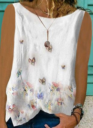 Animal Casual Round Neckline Sleeveless Blouses