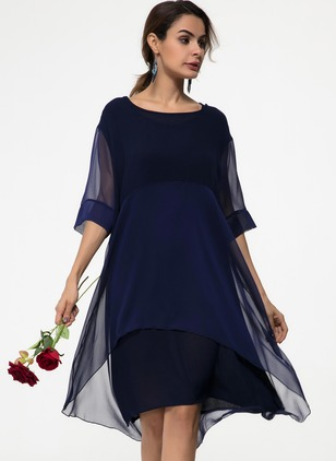 Solid None Round Neckline Knee-Length A-line Dress