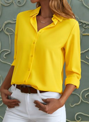 Solid Casual Collar Long Sleeve Blouses (146909217)