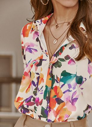 Floral Casual V-Neckline Long Sleeve Blouses (1535350)