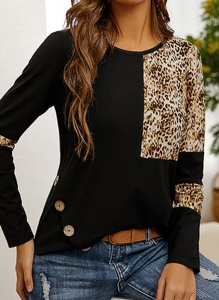 Leopard Casual Round Neckline 3/4 Sleeves Blouses (146931699)