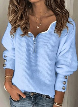 V-Neckline Solid Casual Loose Regular Buttons Sweaters (146912983)