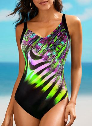 Polyester Color Block One-piece Swimwear (147906253)