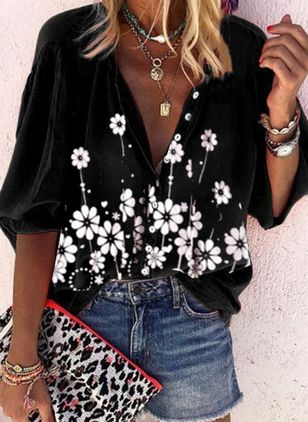 Floral Casual V-Neckline 3/4 Sleeves Blouses (4209639)