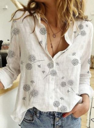 Floral Casual Collar Long Sleeve Blouses (4356340)