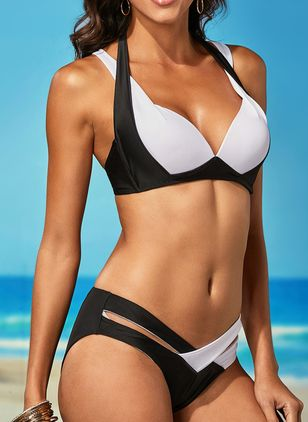 Plus Size Polyester Color Block With Rim Bikinis Swimwear