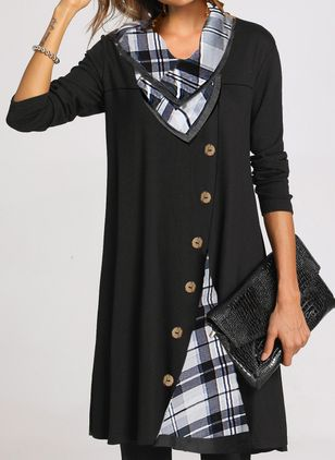 Casual Plaid Tunic Draped Neckline A-line Dress