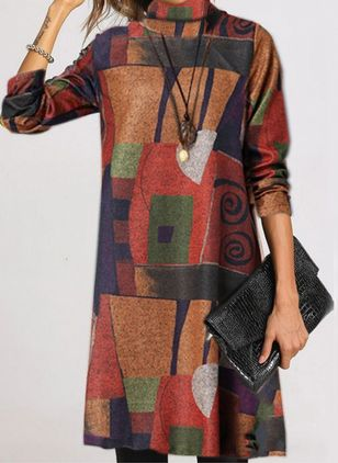 Casual Color Block Round Neckline Long Sleeve Knee-Length Dress (118207762)