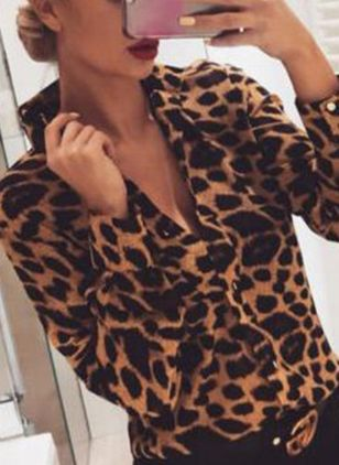 Leopard Sexy V-Neckline Long Sleeve Blouses (4865004)