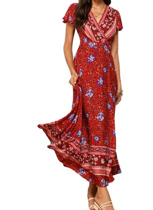Casual Floral Wrap V-Neckline X-line Dress (4209416)