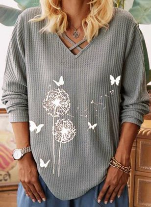 Floral V-Neckline Long Sleeve Casual T-shirts