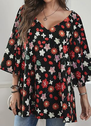 Plus Size Floral Casual V-Neckline 3/4 Sleeves Blouses (106587936)