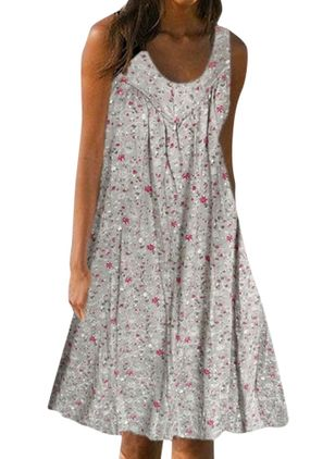 Casual Floral Tunic Round Neckline A-line Dress (4355965)