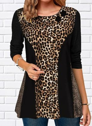Leopard Casual Round Neckline Long Sleeve Blouses (128228091)