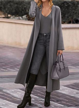 Long Sleeve Collarless Coats (146908718)