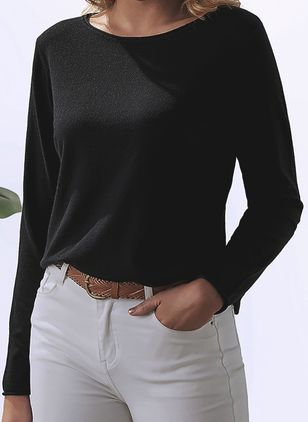 Boat Neckline Solid Casual Loose Regular Shift Sweaters (106588156)