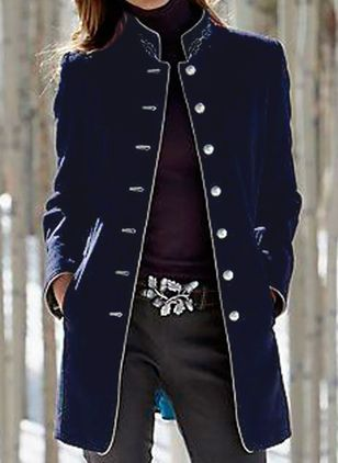 Long Sleeve Stand Collar Buttons Pockets Coats Jackets (118207706)