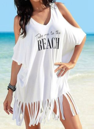 Plus Size Cover-Ups Natural Waist Tassels Plus Swimwear (4209622)