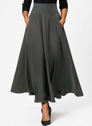 Solid Maxi Pockets Skirts (1384161)