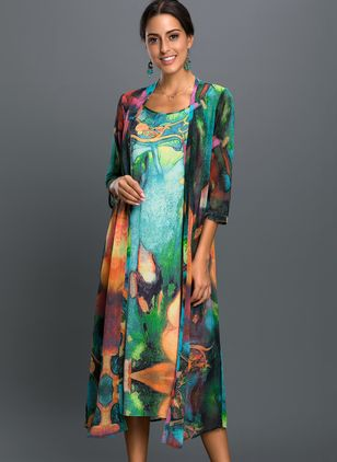 Plus Size Floral Wrap Tunic Round Neckline A-line Dress