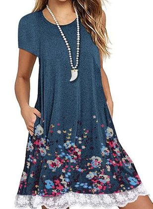 Casual Floral Tunic Round Neckline A-line Dress (100546992)