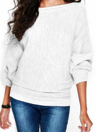 Boat Neckline Solid Casual Loose Regular Shift Sweaters (146718880)