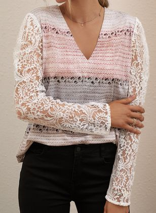 V-Neckline Color Block Casual Regular Lace Hollow Out Sweaters (146632230)