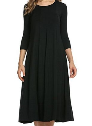 Casual Solid Tunic Round Neckline A-line Dress (110711738)