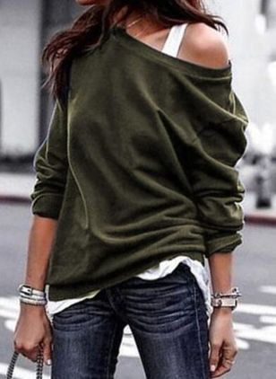Solid Casual Oblique Neckline Long Sleeve Blouses