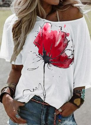 Floral Round Neck Half Sleeve Casual T-shirts